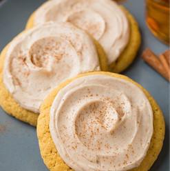 pumpkin sugar cookies with cinnamon fros