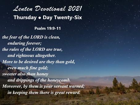 Lenten Devotional 2021 - Day Twenty-Six