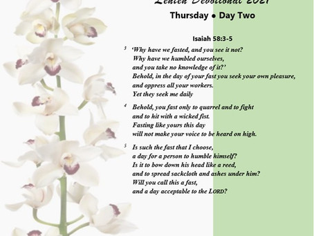 Lenten Devotional 2021 - Day Two