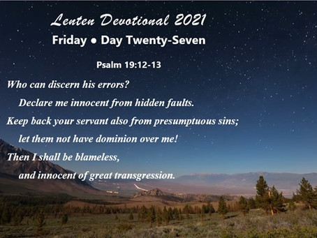 Lenten Devotional 2021 - Day Twenty-Seven