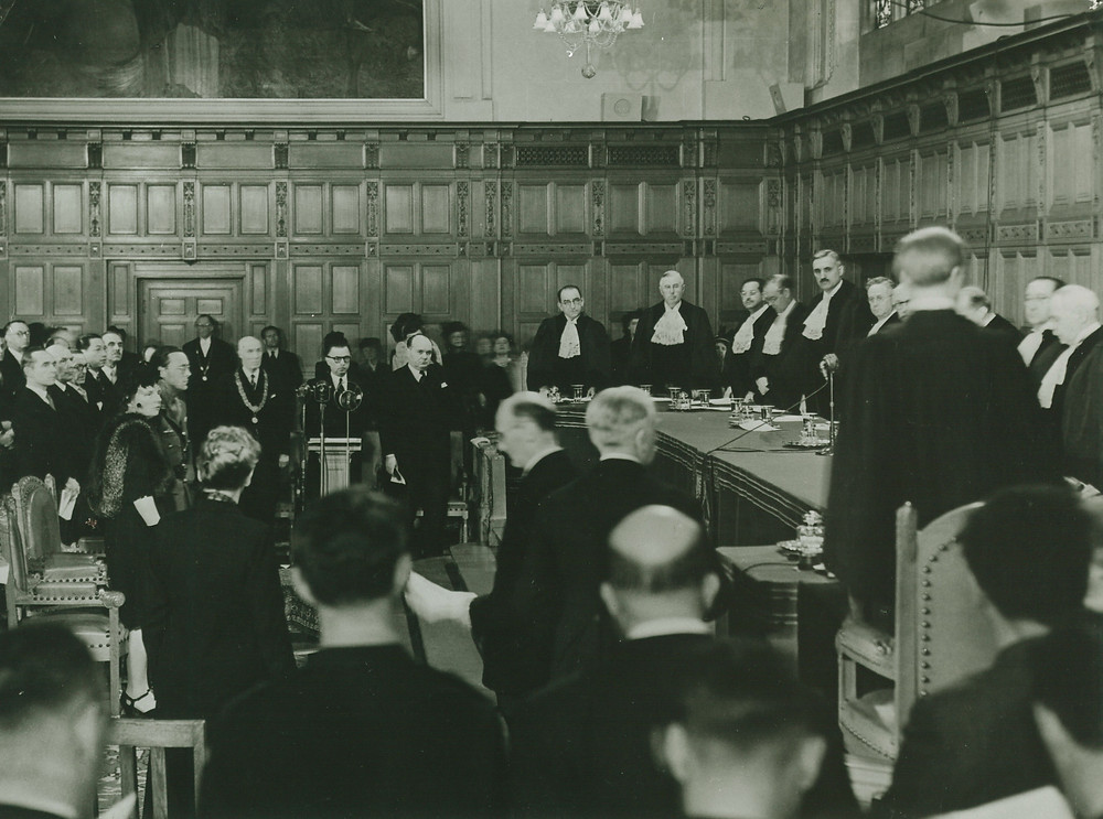 Inaugural session of the International Court of Justice on 18 April 1946, in the Peace Palace in The Hague (Netherlands), in the presence Her Royal Highness Princess Juliana of the Netherlands.  Courtesy of the ICJ. All rights reserved.