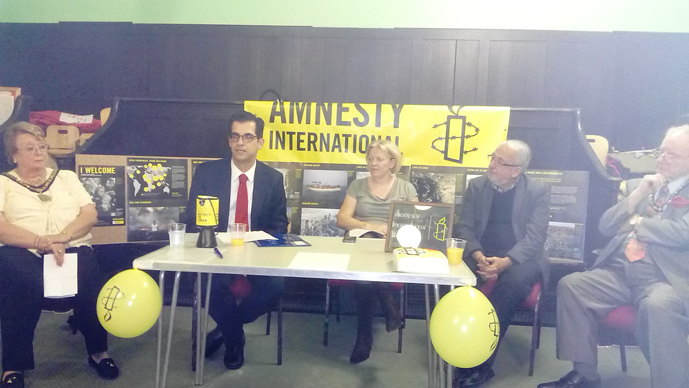 Dimitrios Giannoulopoulos and Amnesty's Graham Minter with the Mayor and Consort of Hillingdon, Councillor Carol Melvin and Mr Andrew Melvin