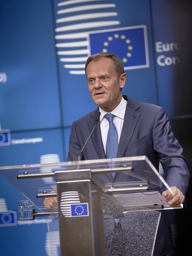 Donald Tusk at the press conference at the end of the Special Council (copyright EU)