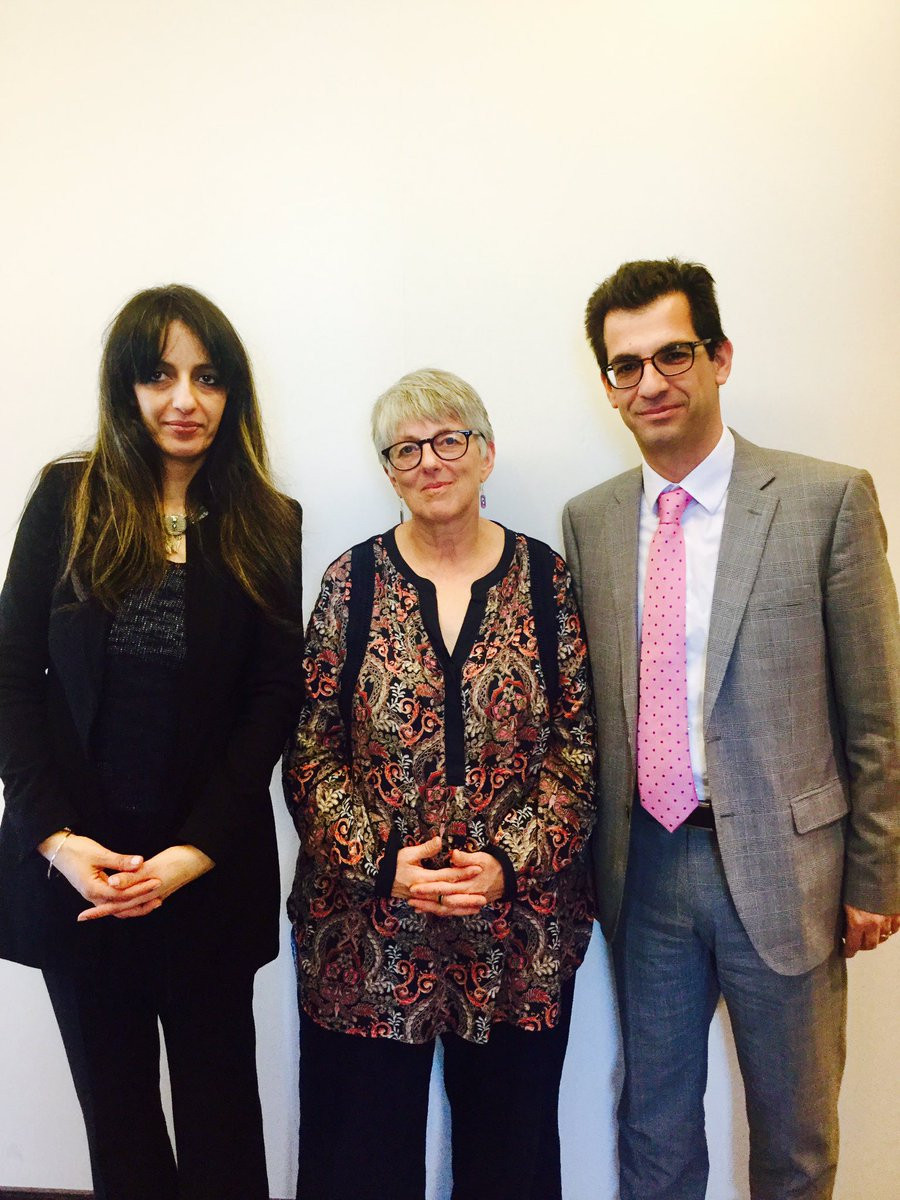 Julie Ward MEP with Dimitrios Giannoulopoulos and Samia Badani (New Europeans) after a working meeting on the written question to Donald Tusk