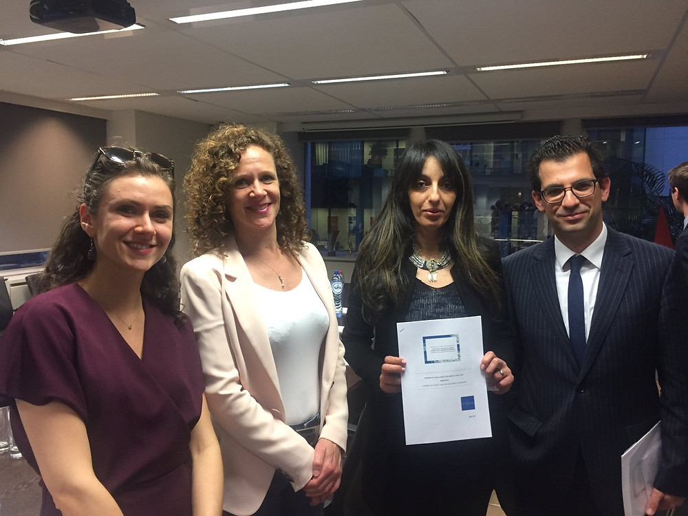 New Europeans/BiE delegation delivering 'Brexit: Voice of EU citizens report' to member of LIBE Committee, Sophie In't Veld, on the eve of the European Parliament hearing