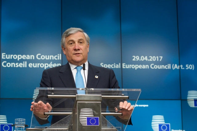EP President Antonio Tajani at the press conference (copyright: EU)