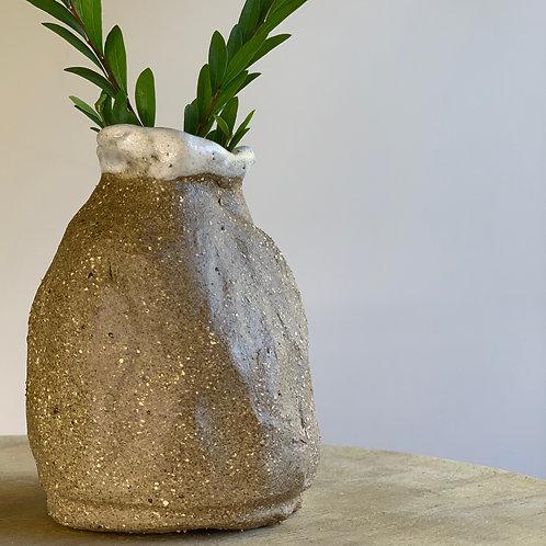 Brown and White Stoneware Vase