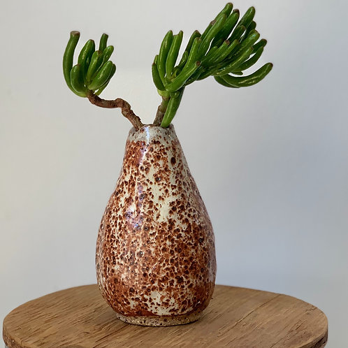 Rust Red and White Bud Vase