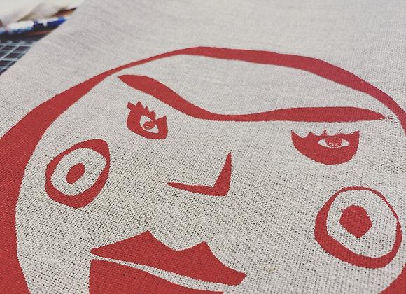 Hand printed tea towel
