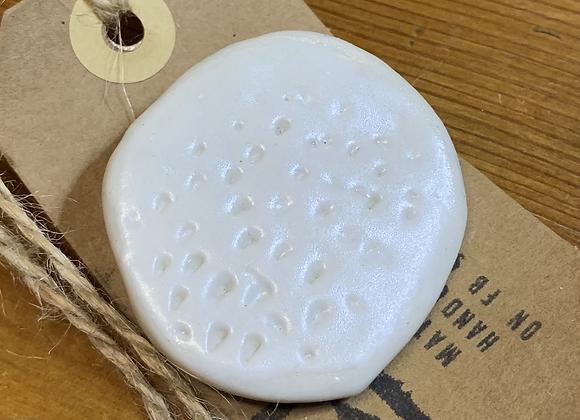 White Textured Porcelain Brooch