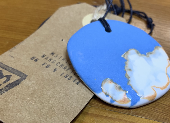 Light Blue and White Ceramic Necklace