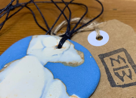 Blue and White Ceramic Necklace
