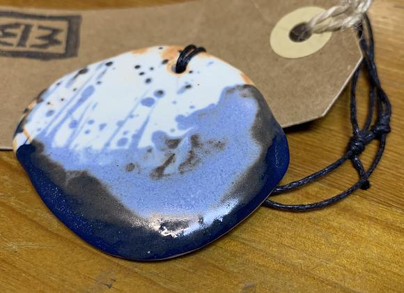 Dark Blue and White Ceramic Necklace