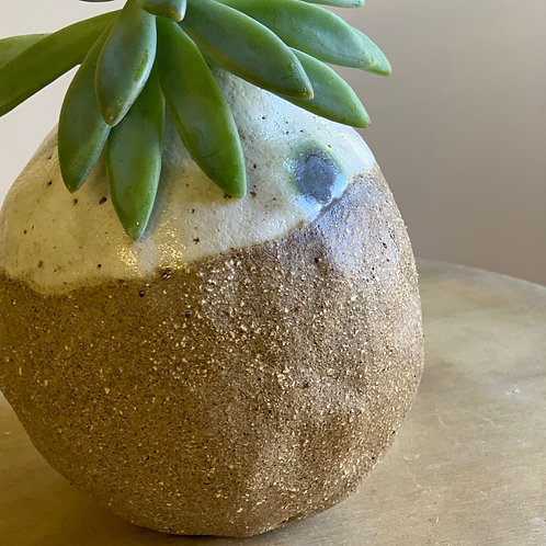 White and Brown Round Vase