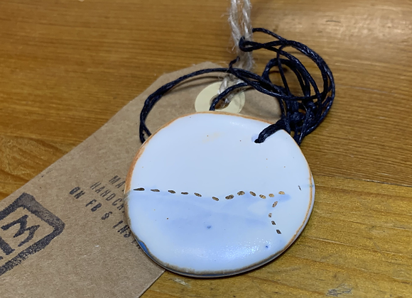 White and Blue Ceramic Necklace