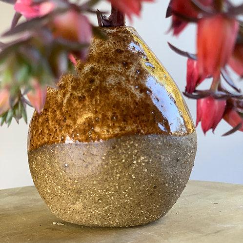 Round Rusty Red Vase