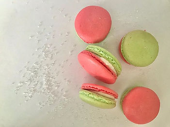 Peppermint macarons.  #christmascookies
