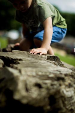 Boy climbing on a Den