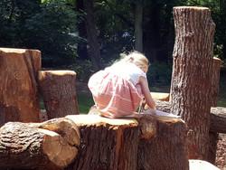 Little girl making rubbings