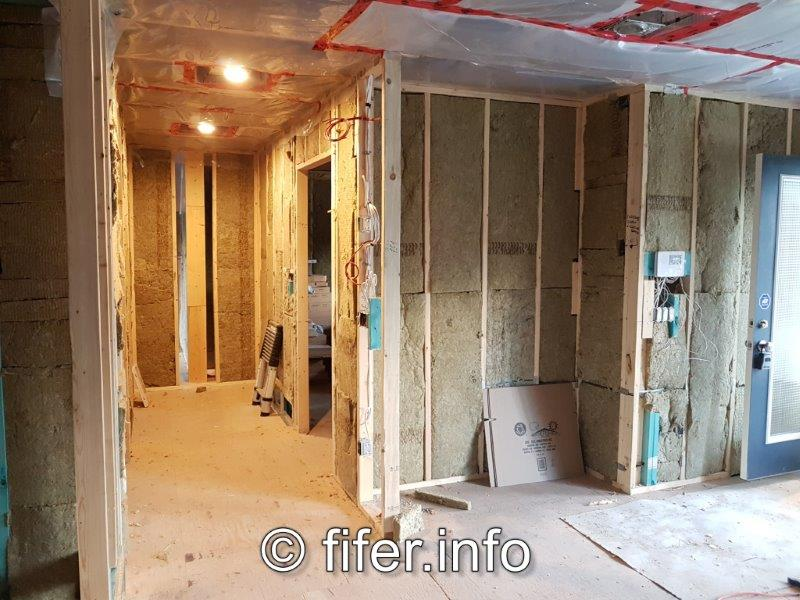 Interior partition walls insulated.