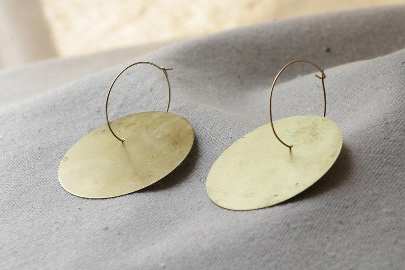 Symbol brass hoop earring