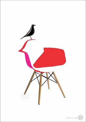 Perched on Eames (red)