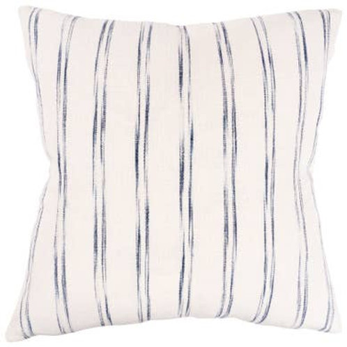 "20"" x 20"" - Waterbrush Stripe Throw Pillow - Navy - Feather Fill"