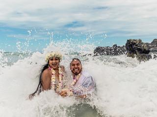 Cherelle + Jonathan's Morning Elopement at Kuki`o Beach #kukiobeach
