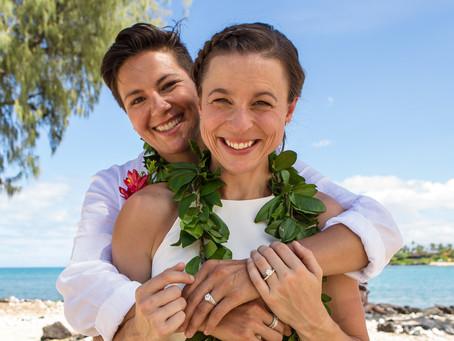 Maggie & Jessica's Family Beach Wedding at Kikaua Point Park