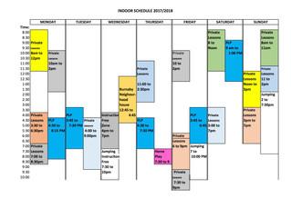 Winter Indoor Arena Schedule
