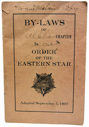 By-Laws Eastern Star booklet 1907