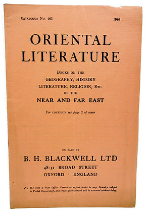 Blackwell's Oriental Literature (No. 463) 1940