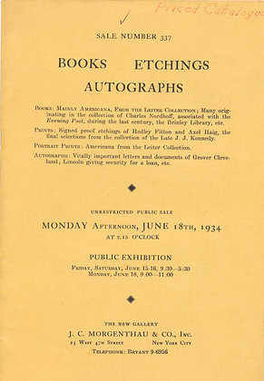 Books Etchings Autographs June 1934