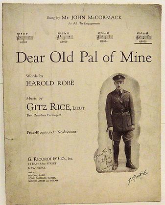 DEAR OLD PAL OF MINE Sung by Mr. John McCormack 1918