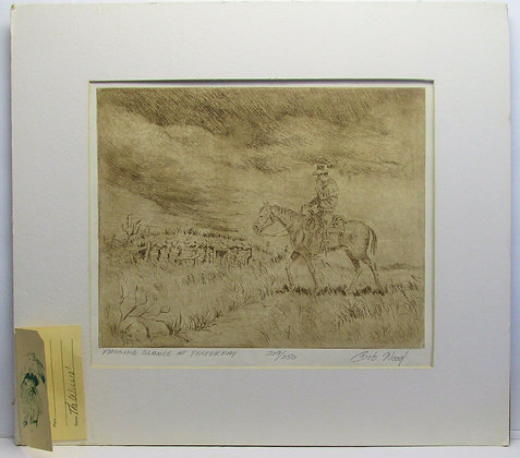 PASSING GLANCE AT YESTERDAY, Western Art Lithograph, Bob Wood (209/250)