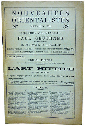 Ephemerides Orientalistes No.  38 - 1931 (French)