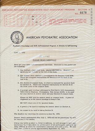 Psychiatric Association Self-Assessment 1972