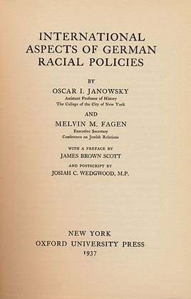 Intl. Aspects of German Racial Policies by Janowsky (1937)