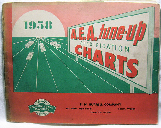 1958 A. E. A. tune-up SPECIFICATION CHARTS