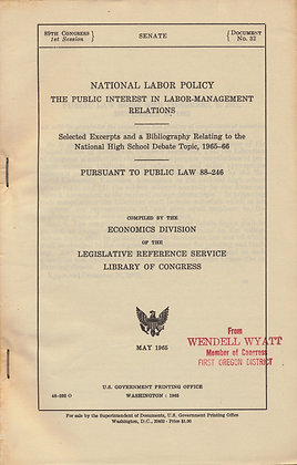National Labor Policy Government 1965