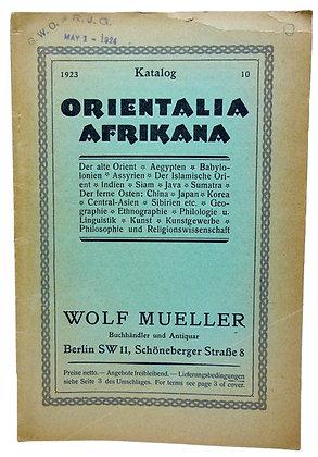 1923 Katalog #10 Orientalia Afrikana (German)