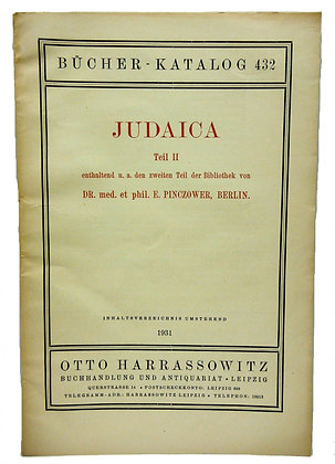 Bucher Katalog 432 JUDAICA 1931 (German)