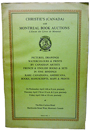Christie's (CANADA) with Montreal Book Auctions  1969