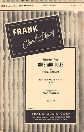 GUYS AND DOLLS Frank Loesser (Mixed Voices) 1958
