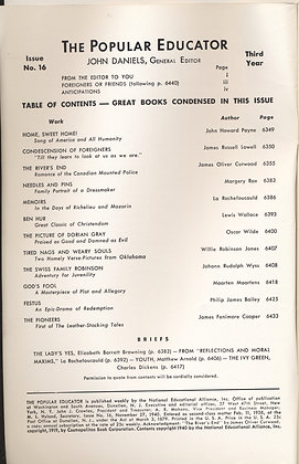 POPULAR EDUCATOR (#16 Third Year 1940) CURWOOD: THE RIVER'S END