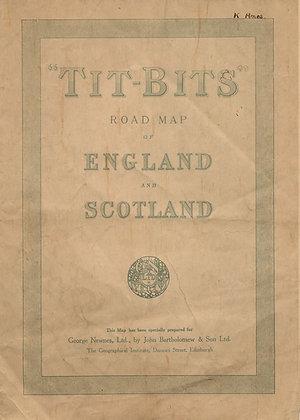 TIT-BITS Road Map Eng. Scotland ca. 1920
