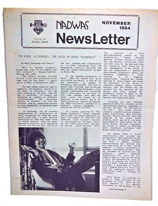 NADWAS Doctor Who Newsletter Nov. 1984