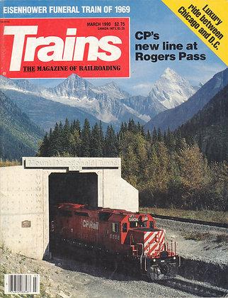 TRAINS, March 1990