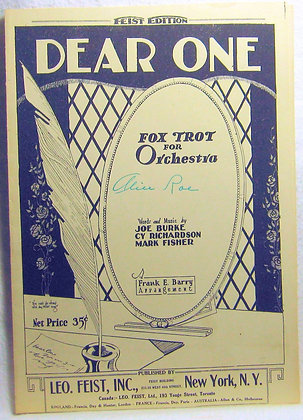 DEAR ONE Fox Trot for Orchestra 1924