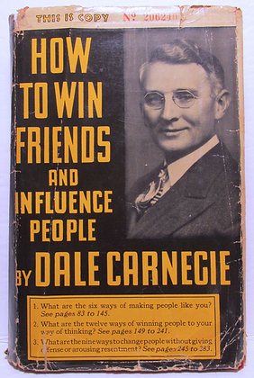 HOW TO WIN FRIENDS & INFLUENCE PEOPLE by DALE CARNEGIE 1937 (w/Jacket!)